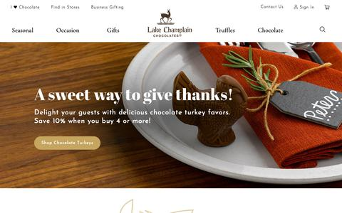 Screenshot of Home Page lakechamplainchocolates.com - Gourmet Chocolate & Truffles | Lake Champlain Chocolates - captured Nov. 4, 2018