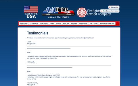 Screenshot of Testimonials Page 911lights.com - 911Lights.com - Testimonials - captured Oct. 25, 2017