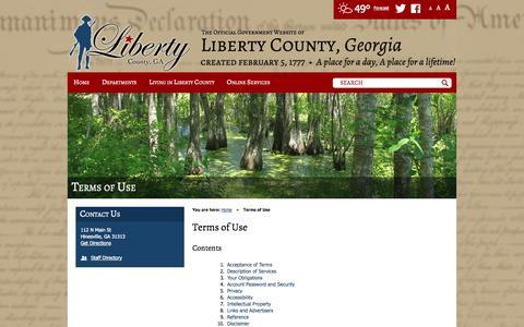 Screenshot of Terms Page libertycountyga.com - Terms of Use / Liberty County, Georgia - captured Nov. 2, 2014
