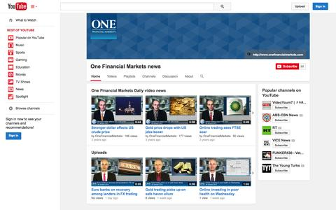 Screenshot of YouTube Page youtube.com - One Financial Markets news  - YouTube - captured Oct. 29, 2014