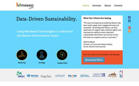 Screenshot of Home Page mosaic-labs.com - Mosaic Labs | Sustainability Consulting Services - captured Sept. 30, 2014