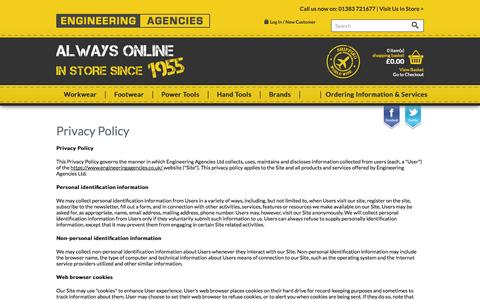 Screenshot of Privacy Page engineeringagencies.co.uk - Privacy Policy - captured Oct. 3, 2014