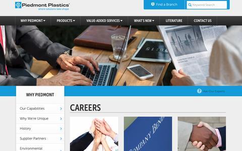 Screenshot of Jobs Page piedmontplastics.com - Careers   Plastic Distribution Company   Piedmont Plastics - captured July 18, 2018