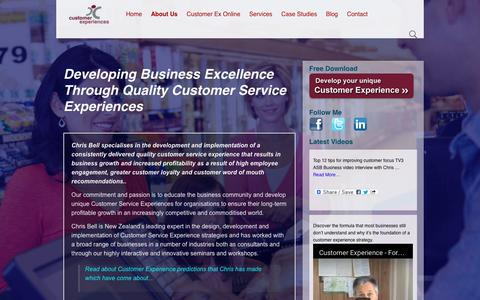 Screenshot of About Page customerexperiences.co.nz - About Customer Experiences New Zealand Chris Bell - captured Nov. 14, 2016