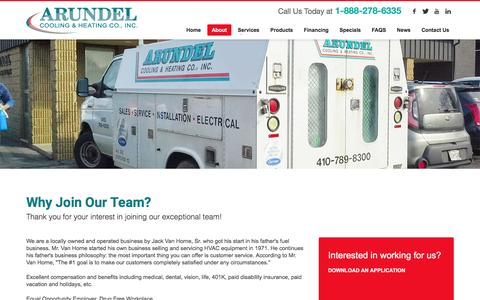 Screenshot of Jobs Page arundelcooling.com - Arundel HVAC Careers in Baltimore, Bowie, Annapolis, & Columbia MD - captured June 22, 2016