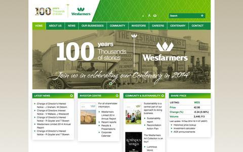 Screenshot of Home Page wesfarmers.com.au - Wesfarmers - Home - captured Sept. 19, 2014
