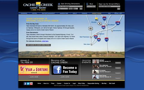 Screenshot of Maps & Directions Page cachecreek.com - Cache Creek - Directions - captured Jan. 5, 2016