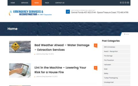 Screenshot of Press Page esrfl.com - News - Emergency Services & Reconstruction - captured Nov. 6, 2016