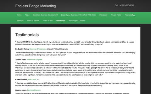 Screenshot of Testimonials Page endlessrangemarketing.com - Testimonials - Endless Range Marketing - captured Dec. 9, 2015