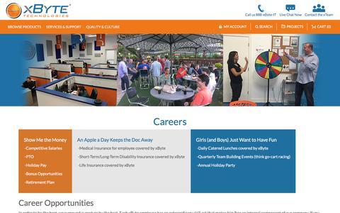 Screenshot of Jobs Page xbyte.com - Careers - captured July 10, 2017