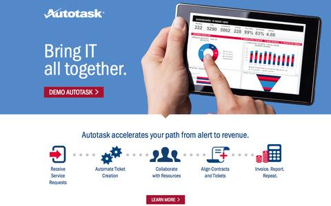 Screenshot of Landing Page autotask.com - Autotask - captured Oct. 27, 2014