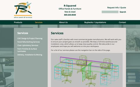 Screenshot of Services Page r-squared.com - Services | R-Squared | Office Panels & Furniture - captured Oct. 20, 2018