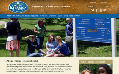 Screenshot of About Page tjs.org - Thomas Jefferson School :: About - captured Nov. 5, 2014