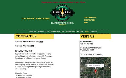 Screenshot of Contact Page Maps & Directions Page marylinelementary.com - mary-lin | VISIT - captured Oct. 17, 2017