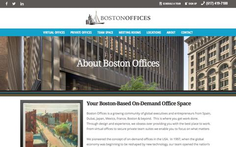Screenshot of About Page bostonoffices.com - Contact Us About Boston Offices Virtual & Private Office Space - captured June 2, 2017