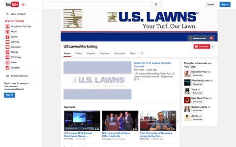 Screenshot of YouTube Page youtube.com - USLawnsMarketing  - YouTube - captured Oct. 23, 2014