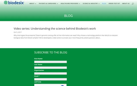Screenshot of Blog biodesix.com - Biodesix blog about lung cancer testing, liquid biopsy and biomarker development - captured Oct. 22, 2017