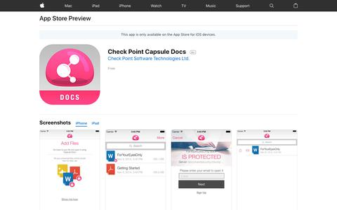Check Point Capsule Docs on the AppStore