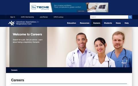 Screenshot of Jobs Page aarc.org - Respiratory Therapist Careers - AARC - captured Jan. 15, 2016