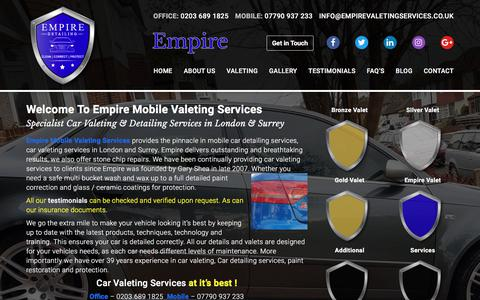 Screenshot of Home Page empirevaletingservices.co.uk - Mobile Car Detailing Services London | Mobile Valeting Services | Empire - captured Aug. 2, 2017