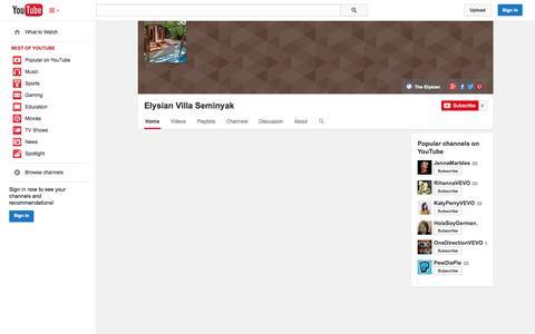 Screenshot of YouTube Page youtube.com - Elysian Villa Seminyak  - YouTube - captured Nov. 3, 2014
