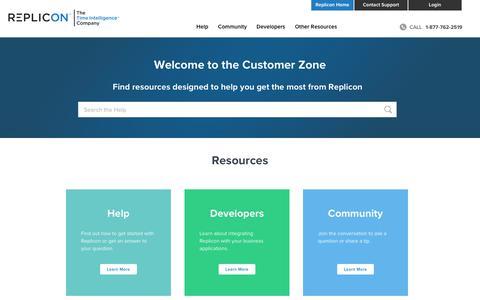 Screenshot of Support Page replicon.com - Customer Zone - Replicon - captured Nov. 13, 2019