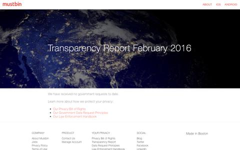 Transparency Report February 2016 | Mustbin