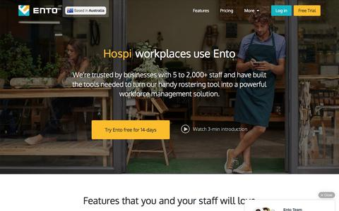 Screenshot of Home Page ento.com - Ento | Staff Rostering & Workforce Management - captured March 13, 2016