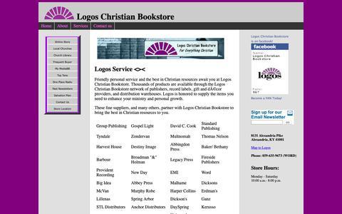 Screenshot of Services Page logosbookstorenky.com - Partners with Logos Christian Bookstore - captured Oct. 22, 2018