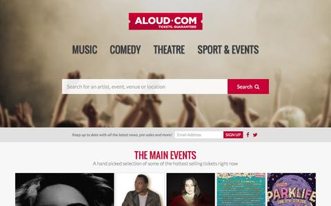 Screenshot of Home Page aloud.com - Aloud.com | Music Gigs, Comedy & London Theatre Tickets - captured Feb. 18, 2016