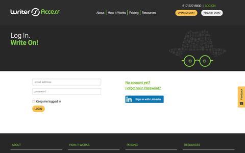 Screenshot of Login Page writeraccess.com - Login - WriterAccess - captured Jan. 4, 2020