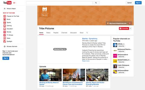 Screenshot of YouTube Page youtube.com - Tribe Pictures  - YouTube - captured Nov. 5, 2014