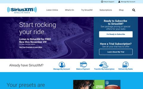 Screenshot of Home Page siriusxm.com - Welcome to the world of satellite radio - SiriusXM Radio - captured Nov. 17, 2016