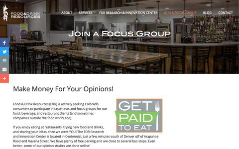 Screenshot of Signup Page foodanddrinkresources.com - Sign Up For Denver Paid Focus Groups | FDR - captured Nov. 6, 2018