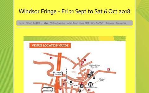 Screenshot of Maps & Directions Page windsorfringe.co.uk - Map and Calendar of Events - captured Sept. 20, 2018