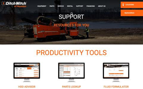 Screenshot of Support Page dwhouston.com - Ditch Witch Equipment Training In Houston, Texas - captured Oct. 9, 2018