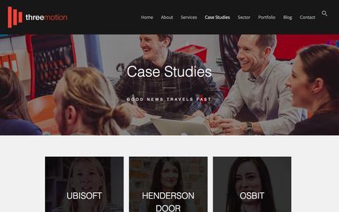Screenshot of Case Studies Page threemotion.co.uk - Case Studies I Three Motion I Newcastle - captured Sept. 23, 2018