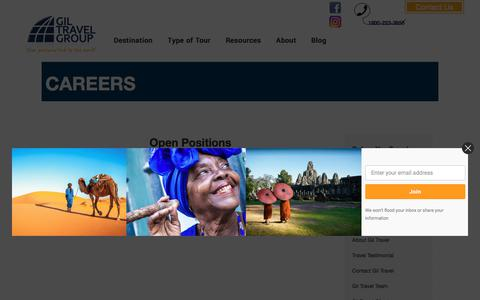 Screenshot of Jobs Page giltravel.com - Careers - captured July 19, 2018