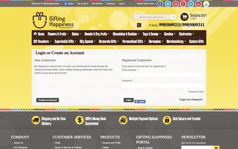 Screenshot of Login Page giftinghappiness.com - Customer Login | Gifting Happiness - captured Sept. 30, 2014