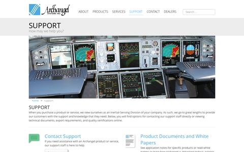 Screenshot of Support Page archangel.com - Support - captured Nov. 21, 2016