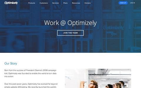 Screenshot of Jobs Page optimizely.com - Careers - captured Dec. 6, 2017