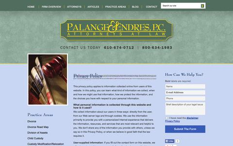 Screenshot of Privacy Page pandelaw.com - Privacy Policy | Palange & Endres, P.C. | Reading, Pennsylvania - captured Oct. 1, 2014