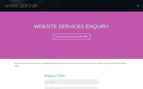 Screenshot of Contact Page matrixdesigner.com - Contact - Matrix Designer - captured Sept. 20, 2018