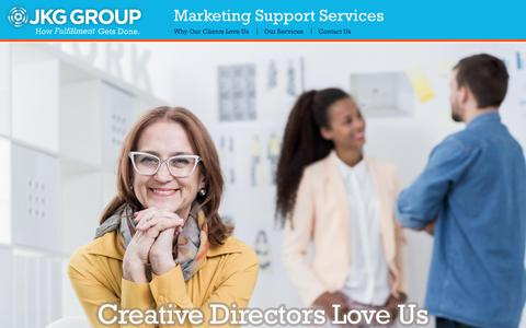 Screenshot of Home Page jkggroup.com - JKG Group – Marketing Support Services   How It Gets Done - captured May 27, 2017