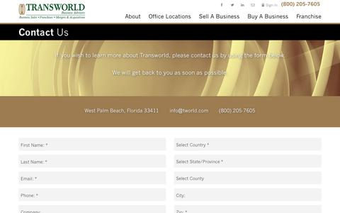 Screenshot of Contact Page tworld.com - Contact Us | Transworld Business Advisors | Business Sales, M&A - captured Oct. 7, 2018