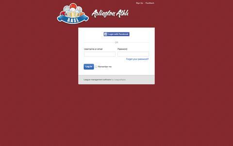 Screenshot of Login Page playaasl.com - Login : DC Social Sports Club @ Arlington - captured Oct. 4, 2014