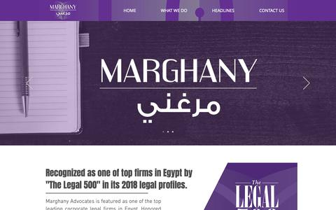 Screenshot of Home Page marghany.com - Marghany Advocates - captured Oct. 16, 2018