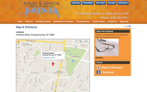 Screenshot of Maps & Directions Page saratogaseniorcenter.org - Map & Directions | Adult & Senior Center of Saratoga - captured Sept. 30, 2014