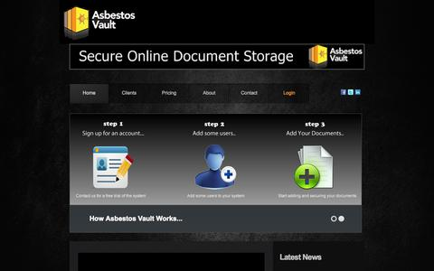 Screenshot of Home Page Privacy Page Terms Page asbestosvault.com - Asbestos Vault - Asbestos Management Software - captured Sept. 30, 2014