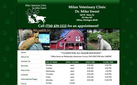 Screenshot of Hours Page milanvetclinic.com - Milan Veterinary Clinic - Milan, MI - Hours - captured Oct. 18, 2018